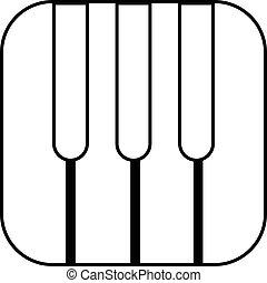 estilo, esboço, teclas, piano, ícone