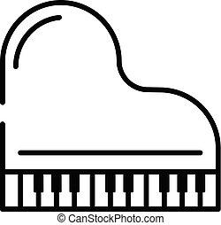 estilo, esboço, topo, grandioso, ícone, piano, vista