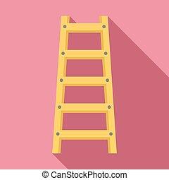 estilo, escalera, icono, plano, madera