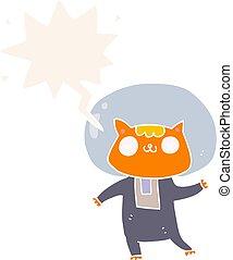estilo, espaço, gato, fala, retro, bolha, caricatura