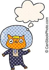 estilo, espaço, gato, pensamento, livro, cômico, bolha, caricatura