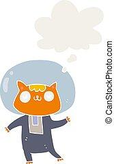 estilo, espaço, gato, pensamento, retro, bolha, caricatura