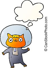 estilo, espaço, gradiente, liso, gato, bolha pensamento, caricatura