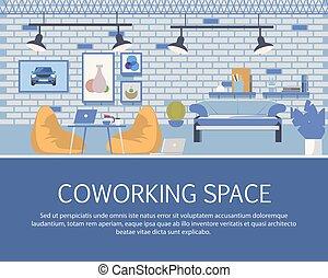 estilo, espaço sótão, coworking, desenho, interior, bandeira