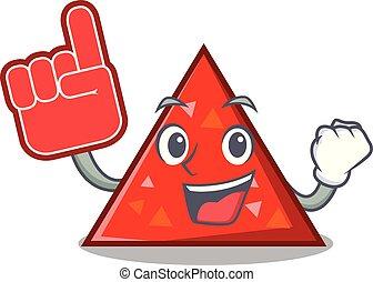 estilo, espuma, dedo, triangel, caricatura, mascota