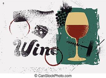 estilo, estêncil, grunge, illustration., vindima, vetorial, retro, cartaz, typographical, vinho, respingo, design.