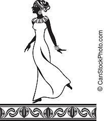 estilo, estêncil, menina, africano