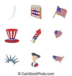 estilo, estados unidos de américa, iconos, conjunto, caricatura, independencia