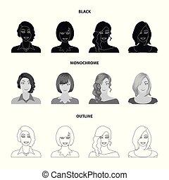 estilo, estoque, ícones, mulher, girl., símbolo, pretas, web., monocromático, aparência, ilustração, esboço, jogo, rosto, vetorial, cobrança, penteado