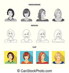 estilo, estoque, ícones, mulher, girl., símbolo, web., aparência, ilustração, jogo, rosto, vetorial, cobrança, apartamento, penteado, monocromático, esboço