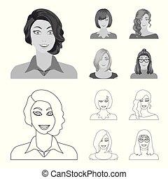 estilo, estoque, ícones, mulher, girl., símbolo, web., aparência, ilustração, jogo, rosto, vetorial, cobrança, monocromático, penteado, esboço