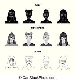 estilo, estoque, menina, ícones, mulher, símbolo, pretas, web., óculos, aparência, hairdo., monocromático, esboço, ilustração, jogo, rosto, vetorial, cobrança