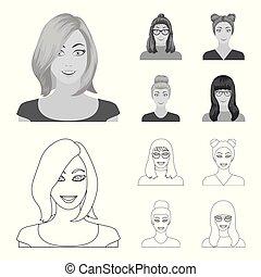 estilo, estoque, menina, ícones, mulher, símbolo, web., óculos, aparência, hairdo., ilustração, jogo, rosto, vetorial, cobrança, monocromático, esboço