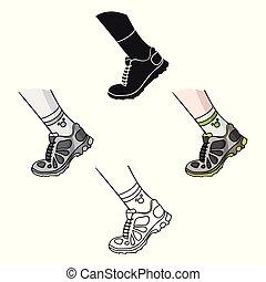 estilo, estoque, símbolo atletismo, caricatura, pretas, isolado, ícone, vetorial, sneakers, condicão física, experiência., illustration., branca