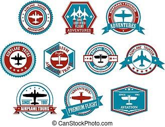 estilo, etiquetas, retro, aviação, ou, emblemas