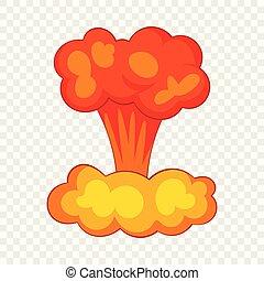 estilo, explosão, nuclear, ícone, bomba, caricatura