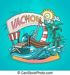 estilo, férias, caricatura