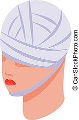 estilo, faixa, ícone, isometric, cabeça