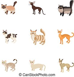 estilo, familia , iconos, conjunto, gato, caricatura