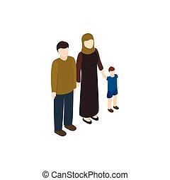 estilo, familia , refugiado, isométrico, icono, 3d