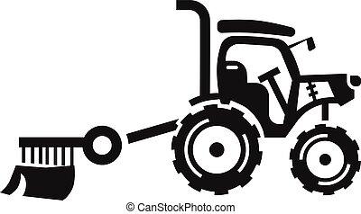 estilo, fazenda, simples, ícone, pequeno, trator