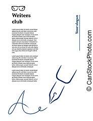 estilo, firma, pluma, membrete, strokes., icono, cepillo, carta, forma, a.