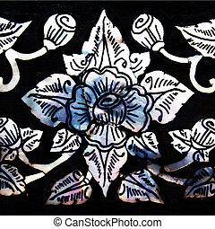 estilo, flor, arte, padrão, templ, tradicional, janela, tailandês, quadro