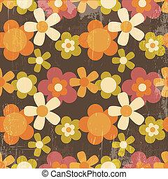 estilo, flor, colorido, patrón, seamless, retro