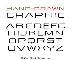 estilo, fonte, feito à mão, sanserif, gráficos
