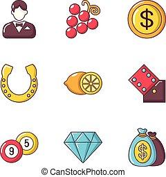 estilo, fortuna boa, ícones, jogo, caricatura