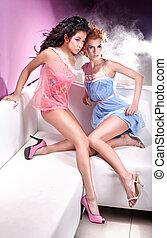 estilo, foto, meninas, dois, glamour, atraente
