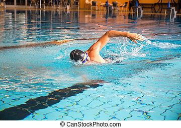 estilo, frente, nada, hombre, arrastre, piscina, natación