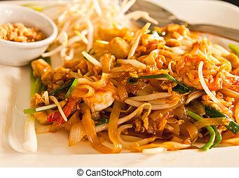 estilo, fresco, tailandês, tailandia, noodle, almofada, camarão