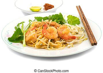 estilo, frito, tallarines, tailandés, arroz, conmoción
