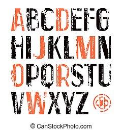 estilo, fuente, serif, sin, retro