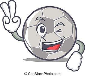 estilo, futebol, personagem, dois, dedo, caricatura