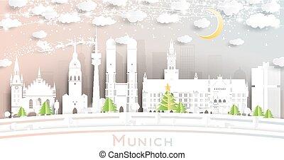 estilo, garland., luna, contorno, neón, munich, alemania, papel, ciudad, corte, copos de nieve