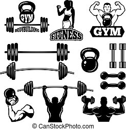 estilo, ginásio, etiquetas, club., símbolos, condicão física, monocromático, desporto, emblemas