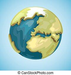 estilo, globo, ilustração, planeta, vetorial, terra, caricatura