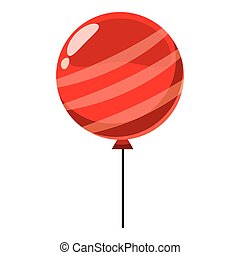 estilo, globo, isométrico, icono, rojo, 3d