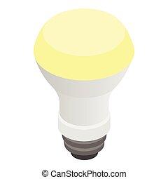 estilo, glowing, isometric, conduzido, bulbo, 3d, ícone