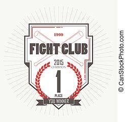 estilo, gráfico, logos., campeão, clube, vindima, vencedor, etiquetas, luta, emblemas, place., label., monocromático, emblemas, primeiro