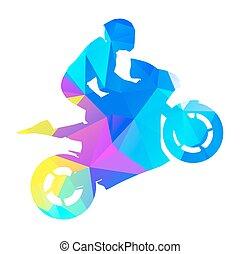 estilo, gráfico, resumen, racer., geométrico, vector, moto