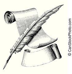 estilo, gravura, bandeira, desenho, papel, ilustração, logotipo, caneta, pena, em branco, vindima, mão, crucifixos
