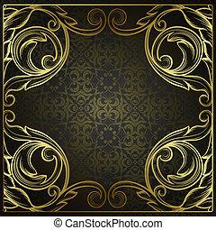 estilo, gravura, padrão, rococo, retro, antigüidade, beira decorativa, vetorial, desenho, quadro, vindima, ornamento