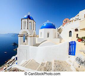 estilo, grego clássico, igreja, santorini, grécia