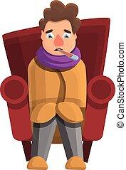 estilo, gripe, ícone, lar, caricatura, homem