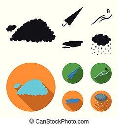 estilo, ground., estoque, ícones, vento, símbolo, nuvem, pretas, web., tempo, ilustração, norte, jogo, vetorial, cobrança, apartamento, guarda-chuva, poça