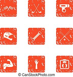 estilo, grunge, ícones, jogo, raça, desporto