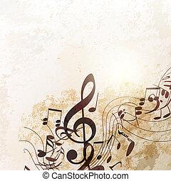 estilo, grunge, fundo, música, vetorial, vindima, notas